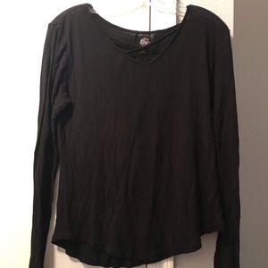 Thin black criss cross sweater